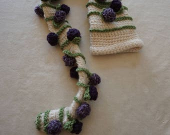 Crocheted Newborn Photo Prop Long Stocking Hat with Purple Flowers