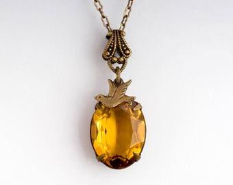 Topaz Yellow Crystal Necklace, Swarovski Crystal Pendant, Yellow Necklace, Yellow Crystal, Bird Necklace, Yellow Rhinestone Necklace, Freda