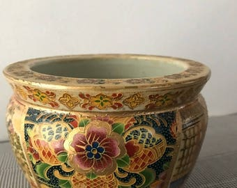 Royal Satsuma Handpainted Flower Pot