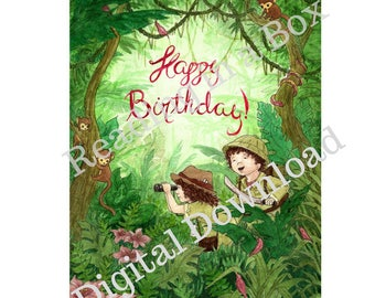 Happy Birthday Card - Jungle Explorer Them - Original Artist design and drawn - digital download
