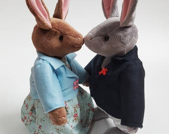 Rabbits Soft Toys Couple / Lady and Gentleman Bunny Couple / Articulated Dolls / Handmade Plushies / Stuffed Animals