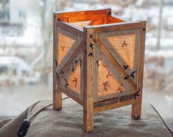 Burlap Table Lamp, Wood Lamp, Country Wood Lamp, Led wood lamp, Wooden Lamp, Floor Lamp, Burlap and Wood, Rustic Lamp, Retro Wood Lamp
