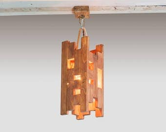 Wooden hanging lamp Pendant light Wood lamp Wooden lamp Warm light Natural light Rustic lamp Wood chandelier Led lamp