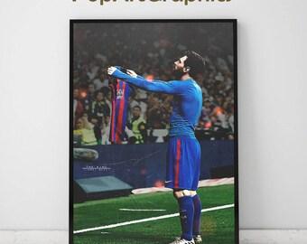 Lionel messi poster ( el classico )  illustrated Celebrate, Barcelona