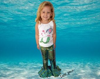Girls Mermaid Tail Leggings Bell Bottoms Flare
