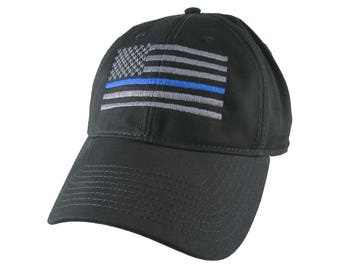 An American Thin Blue Line US Flag Embroidery on Adjustable Black Unstructured Adjustable Baseball Cap with Option to Personalize the Back
