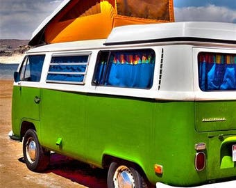 Vintage VW Bus, Green and White, artistic photo
