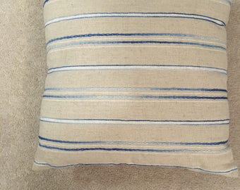 Pillow Decorated with Blue Embroidery Striped