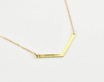 Chevron Necklace - Gold or Silver V Necklace - Simple Point Bar Necklace - Simple Chevron Necklace