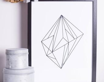 Geometric | Polygon | Print | A4 | A3 | Minimal | Monochromatic | Minimal | Hipster