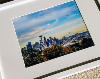 Seattle framed photography (pacific northwest photography, home decor photo, wall art deco space needle ready to hang)