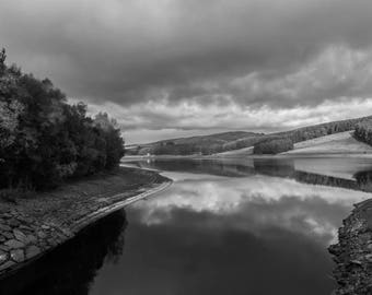 Fine art black and white photographic 12 x 8 inches print by Sean Cooper - Peak District - Derbyshire - UK - Framed (Frame 16 x 13 inches)