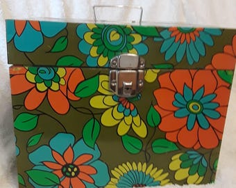 Groovy Retro Flower Power Mod Colors Metal Large File Box