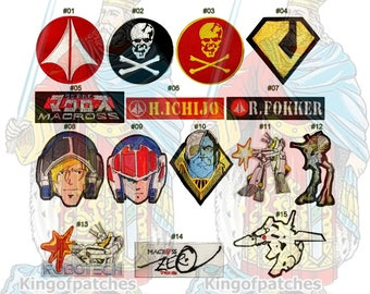 Robotech Super Dimension Fortress Macross Embroidered Patches Manga 80's Cartoon Skull Squadron Zentraedi Valkyrie Logo Rick Hunter VF-1