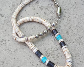 Vintage Mid-Century Oyster Shell and Turquoise Bead Necklace