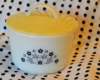 Vintage Pyrex Sugar Bowl Blueberry Summer Impressions, with Plastic Lid