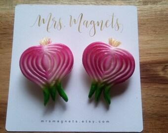 Sliced Onion Magnets Set of 2 - kitchen refrigerator magnets, office magnets, teacher gift, hostess gift