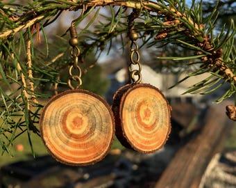 Rustic Tye-Dye Spalted White Pine Wooden Earrings, Wood Cookie Earrings, Boho Earrings, Wood Slice Earrings
