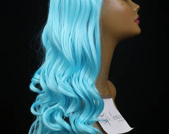 """FELICITY : 26"""" High Quality Lace Front Wig - Heat Safe Synthetic Hair with soft loose spiral curls in Bright Aqua Baby Blue"""