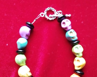 Day of the Dead Skull Rainbow Bracelet