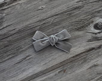 Grey velvet Hand tied bow for baby, toddler or girl on nylon headband or clip