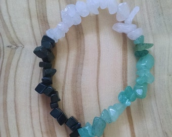 Three Mixed Gemstone Beaded Bracelet