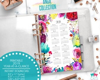 Printable Calendar A5 A4 Letter Watercolor Planners 2019 Year at a Glance | Angie Floral Collection | ANCYG19