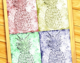 "Psych - edelic Pineapples - 10"" x14"" HD Digital Print of Four Pineapples (Five Prints - 1 Together, 4 Apart)"