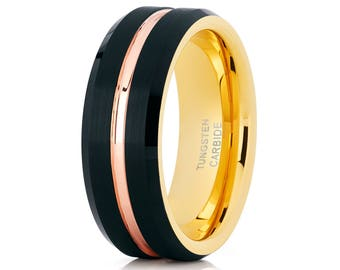 Tungsten Wedding Ring Black Tungsten Ring Rose Gold Wedding Band Men & Women Yellow Gold Tungsten Ring Anniversary