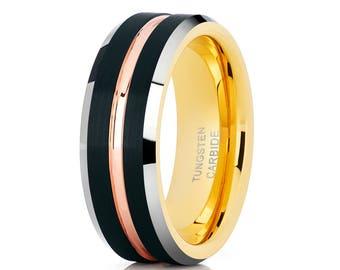 Tungsten Wedding Band Yellow Gold Tungsten Ring Men & Women Rose Gold Tungsten Band Brush Black Wedding Ring