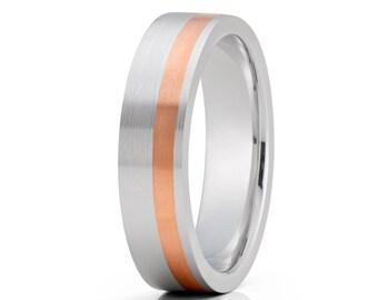 14K Rose Gold Wedding Band White Gold Wedding Ring Men & Women Gold Wedding Ring Anniversary Ring Engagement Gold Ring