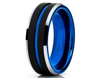 Black Tungsten Wedding Band Blue Tungsten Ring Men & Women Tungsten Carbide Ring Anniversary Ring Black Tungsten Ring