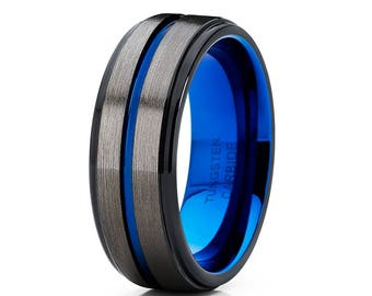 Gunmetal Tungsten Wedding Band Black Tungsten Wedding Ring Blue Tungsten Ring Anniversary Ring Men & Women Tungsten Ring