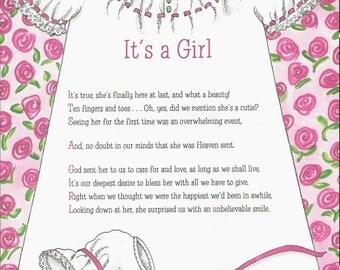 It's a Girl 8.5 x 11 Acrostic Poem Print