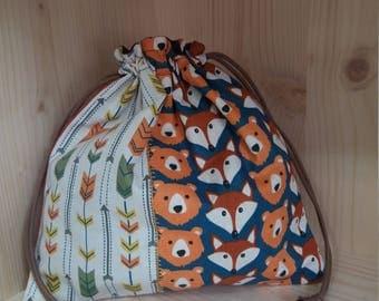 Snack bag / handbag plush Fox and bear