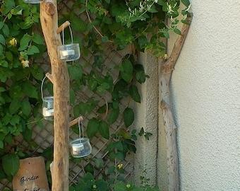 Photophore en bois flotté socle en béton