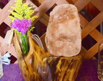 Custom salt lamp with driftwood base. Includes votive for small flower arrangement.