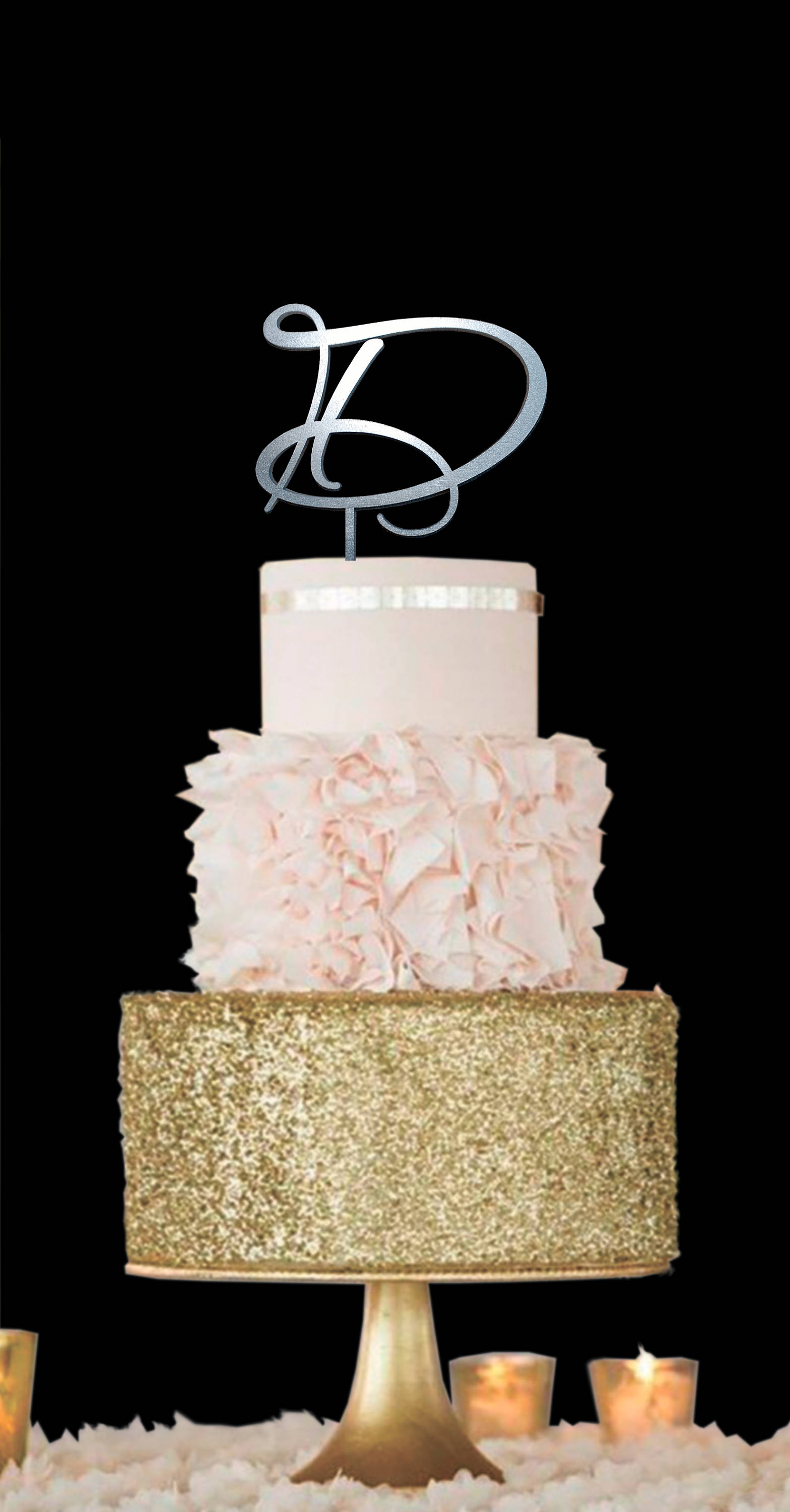 D Cake Topper Initials Wedding Letter Gold Single