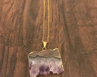 Gold plated Amethyst slice pendant