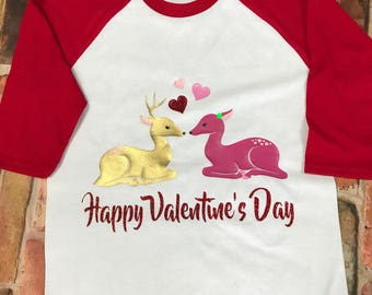 Girls' Happy Valentine's Day Deer Raglan Tee