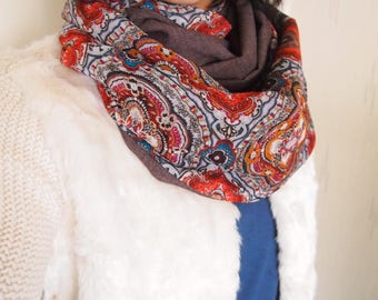 Snood collar double twist mid-season, patterns, flowers, mandalas, India, graphic arabesques