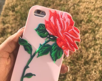 iPhone 8 Case, iPhone 7 Case, iPhone 6 Case, iPhone 6s Case, 3D Flower Case, Rose Case, Silicone Case, Soft Case, Red and Pink Flower Case