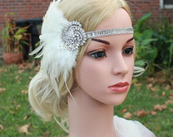 LISALI  1920s Flapper Headbands Great Gatsby Headpiece with White Feather Crystals Hair Accessories