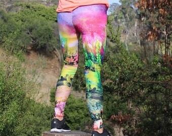 Galaxy Leggings, Space Leggings, Cactus Leggings, Cactus Print, Printed Activewear Pants, Yoga Leggings, Festival Tights, Bright Pattern