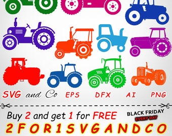 SALE! Tractor clipart set - Tractor SVG file -  farm instant download - Tractor Files for Cricut and Silhouette - svg, eps, png - SAC201