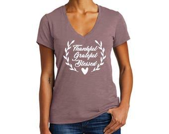 Thanksgiving shirt, V-neck, Thankful Shirt, Fall Shirt, Thanksgiving top, Women's Fall Shirt, Thankful Grateful Blessed Shirt