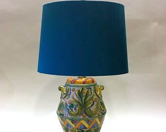 Vintage Hand-Painted Spanish Ceramic Lamp Made in Spain 60s Colorful Mid Centtury Modern Spanish