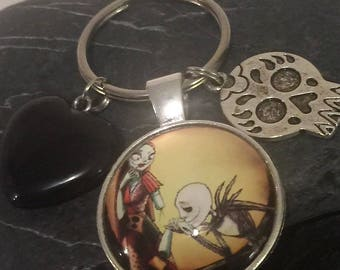 Jack and Sally Inspired Key Ring / Black Agate Heart / Key Chain