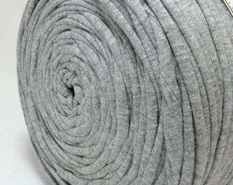 T-Shirt yarn, cotton cord,light grey t-shirt yarn,Zpaghetti Yarn,Necklaces Bracelets, home decor, trapillo yarn, spaghetti yarn, chunky yarn
