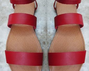 Sandals Womens,Womens  Sandals, Leather Sandals, Greek Sandals, Handmade Sandals,Red Sandals,Greek Leather Santals,Strappy Santals,MYKONOS